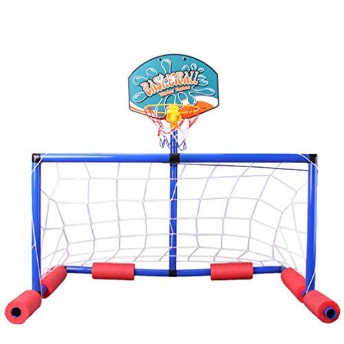 Tomaibaby 1 Juego de Piscina de Agua Flotante Inflable con GOL de Fútbol Baloncesto Baloncesto Inflador de Baloncesto Juego de Piscina Verano Playa Juguete para Niños Adultos