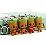 Cute Baby Groot Keychains Keyrings, sunliveus 4 Pack Small Baby Groot Grote Grute Miniature Pendant Key Rings for Boys Children Birthday Christmas Gift