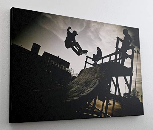 Skateboard Skater Skate Ramp Halfpipe Leinwand Bild Wandbild Kunstdruck L0910 Größe 100 cm x 70 cm