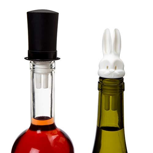 PELEG DESIGN Weinverschluss- und Ausgießer 2 in 1   Doppelausgießer für Spirituosen   Weiß, 9 x 4 cm