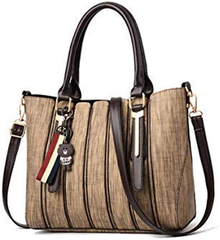 Bloomerang Women Leather Handbags Shoulder Bag Women's Tote Bag for Women Female Handbags High Quality Sac a Main Ladies Hand Bags color Khaki 27x13x24cm