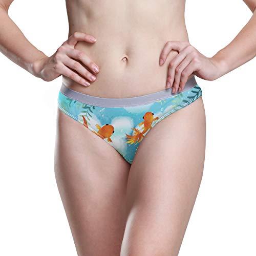 DEZIRO Essentials Damen Stretch Bikini Panties Cute Goldfish Schwimmen Malerei Gr. 42, 1