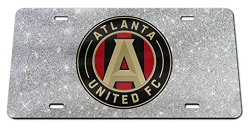 Wincraft Atlanta United Premium License Plate, Silver Glitter Edition