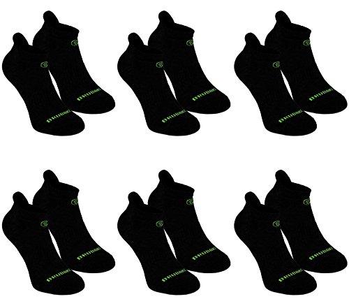 Brubaker Calzini Traspiranti - Calze Funzionali Sneaker per Lo Sport, Corsa, Mountain Bike - 6 Paia - Nero con Logo in Verde - EU 35-38