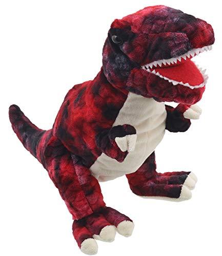 Lashuma Plüsch Handpuppe Dinosaurier, Tierpuppe T-Rex 28 cm, Stofftier Theaterpuppe, Kuschel Handspielpuppe Farbe Rot