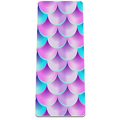 Esterilla de yoga clásica de 4 mm con impresión de ejercicio y fitness para todo tipo de yoga, pilates y ejercicios de piso, sirena de lentejuelas azul morado 80 x 183 x 0,8 cm