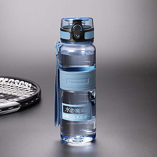 Botellas de Agua de 500/1000 ml Agitador sin BPA Tour Deportivo al Aire Libre Botella de Bebida Botella de té de Frutas de plástico ecológico a Prueba de Fugas portátil - 500 ml Azul