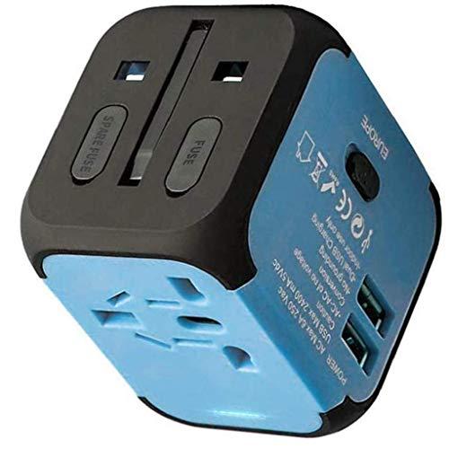 Adaptador de Viaje Cargador rápido en el Mundo de Carga rápida múltiples Funciones del Adaptador Todo-en-uno con Doble USB Fusible de Seguridad Azul Negro