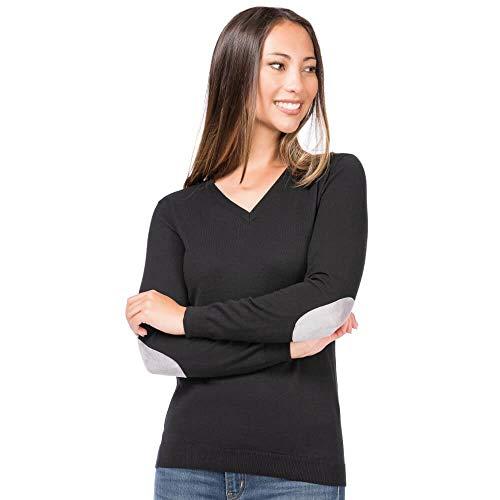 ALLBOW Damen Pullover V-Ausschnitt Schwarz mit grauen Ellenbogen-Patches M