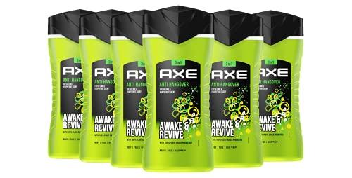 Axe Duschgel Set Herren 6er Pack Body Hair Face 3-in-1 Anti-Hangover dermatologisch getestet (6 x 250 ml)