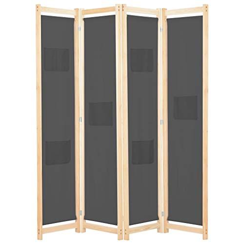 vidaXL Holz Raumteiler 4-TLG. Paravent Trennwand Umkleide Sichtschutz Spanische Wand Raumtrenner Stellwand Grau 160x170x4 cm Stoff Klappbar Platzsparend