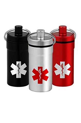 3 Mini Stash Jars, Airtight Waterproof Smell Proof Container Pill Holder with Medical Emblem, Secures Nitroglycerin Nitro Bottle Aspirin Ibuprofen Medications Herbs Food plus, EDC Keychain Fob