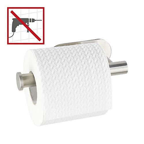 WENKO Toilettenpapierhalter Salve Edelstahl matt - ohne Bohren, Klebebefestigung, rostfrei, 17x8x5cm