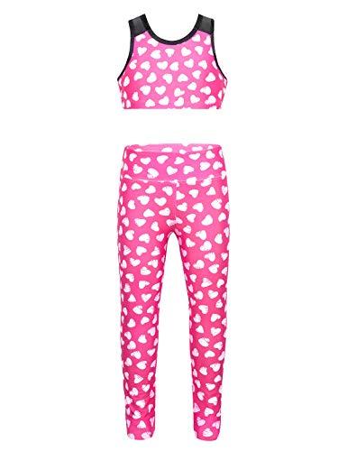 iixpin Traje de Gimnasia para Niñas Estampado de Corazones Conjunto de Deporte 2Pcs Crop Top -Pantalones de Jogging 4-12 Años Rosa 8Años