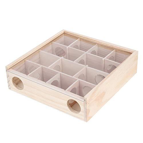 Zerodis Hamster Labyrinth Spielzeug, Naturholz Rattenhaus mit Bio-Glas Interaktives intelligentes kleines Haustier Spielzeug für Rattenmaus Mäuse Hamster