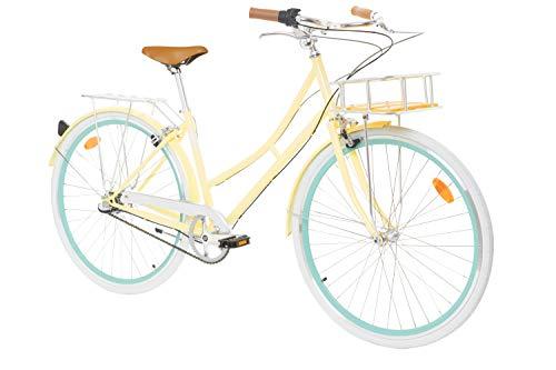 "Fabric City Bicicleta de Paseo- Bicicleta de Mujer 28"" con Cesta, Cambio Interno Shimano 3V, 5 Colores, 14kg (Cream Stokey Deluxe)"