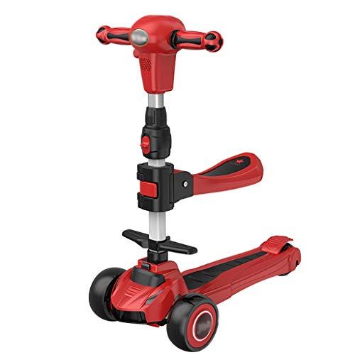 Patinete 2 En 1 Scooter Durante 1 Rueda de 3 Ruedas Flashing Wheels Scooter con Asiento Extraíble Altura Ajustable para Niños de 2 A 12 Años (Color : Red)