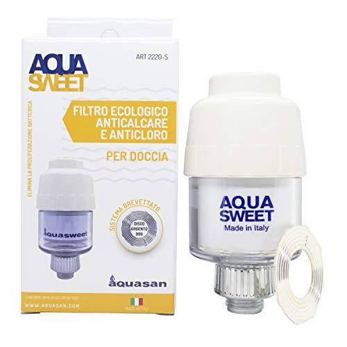 Aquasan Aquasweet Filtro anticloro Purificador de ducha Ajustar pH elimina el cloro irritante metales pesados filtro de agua reemplazable se adapta a cualquier grifo flexible y cabezal de ducha