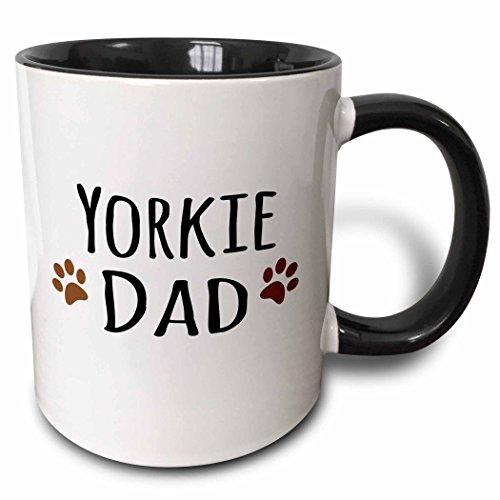 3dRose Yorkie Dog Dad Mug, 11 oz, Black