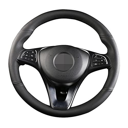 Apto para Mercedes Benz C200L E63 E300 E320 GLK GLC260 GLA, Funda para Volante de Coche, Cuero Cosido a Mano, Transpirable