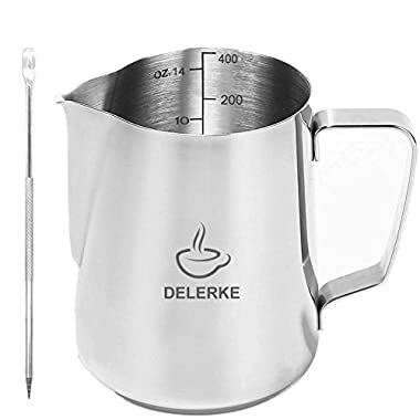Milk Pitcher -Stainless Steel Measurements On Side Creamer Frothers Cup With Latt Art Pen (14oz)