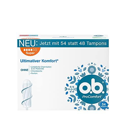 o.b. ProComfort Super,Tamponsfürstarke TagemitDynamic FitTechnologie &SilkTouchOberfläche, für ultimativen Komfort* & zuverlässigenSchutz(1 x 54 Stück)