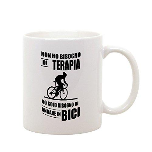 bubbleshirt Tazza Mug in Ceramica Compleanno - Non Ho Bisogno di Terapia Ho Solo Bisogno di Andare in Bici- Idea Regalo