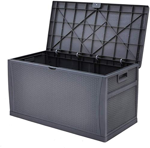 Cemeon 120 Gallon Outdoor Large Deck Storage Box, Resin Wicker Patio Storage Container for Patio Cushions, Gardening Tools and Toys (Dark Gray)