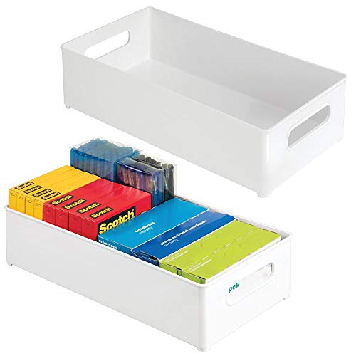 mDesign Set da 2 organizer ufficio in plastica – Organizzatore scrivania ideale per penne, matite, timbri, fogli ecc. – Box portaoggetti con maniglie – bianco