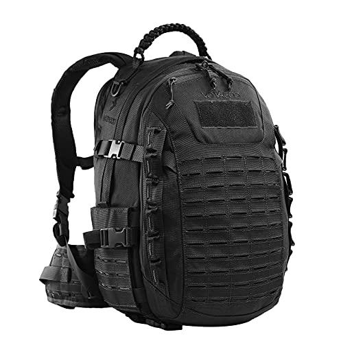 YEVHEV Molle - Mochila táctica de senderismo (30 L, resistente al agua), diseño de camuflaje, Unisex adulto, Negro , 30 L