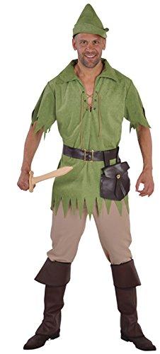 M212223-S - Disfraz de cazador con capucha para hombre, talla S, color verde