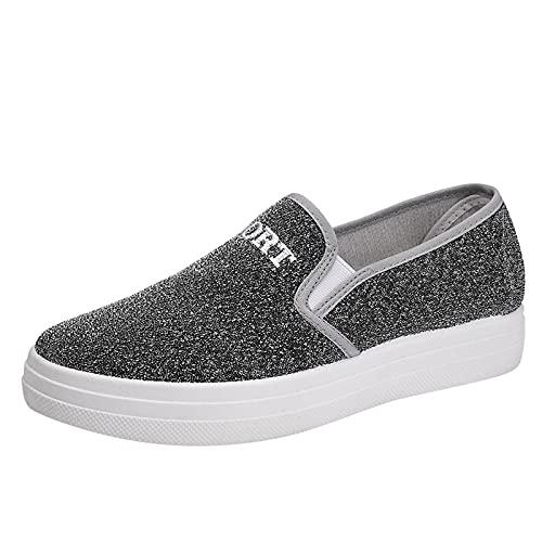 Fomino Zapatillas de verano para mujer, zapatillas de deporte, para el tiempo libre, planas, con suela de tela, gris, 40 EU