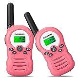 FLOUREON Walkie Talkies,2 Pack para Niños 3.3KM Rango de 8 Canales, Radio de 2 vías con Pantalla LCD para Hogar/Actividad de Interior o al Aire Libre (Rosa)