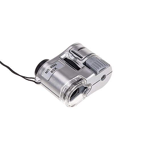 MXXDB Magnifier, 60X Handheld Magnifying Glass Mini Pocket Microscope Loupe Currency Detector Jeweler Magnifier with LED Light Magnifier (Color : Silver)