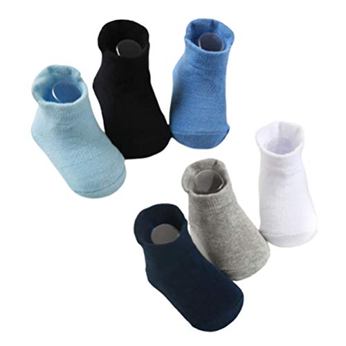 Opplei Kindersokken peuter baby grip sokken 6 paar anti-slip sokken crew sokken voor kinderen jongens meisjes 0-3 jaar elastisch lichtgewicht ademend