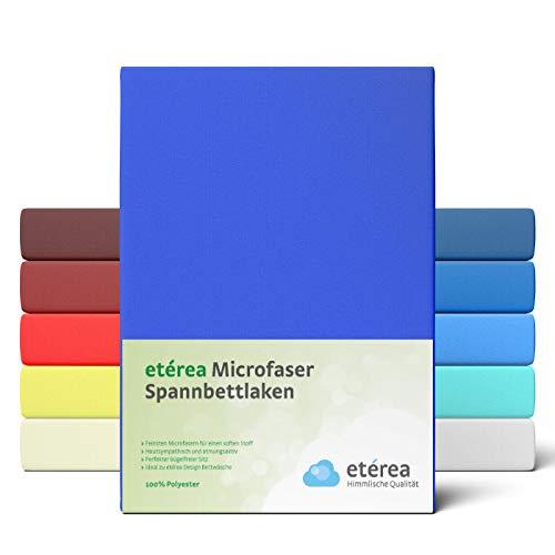 #7 Etérea Classic Microfaser Interlock Spannbettlaken, Spannbetttuch, Bettlaken, 9 Farben, 180x200 - 200x200 cm, Blau