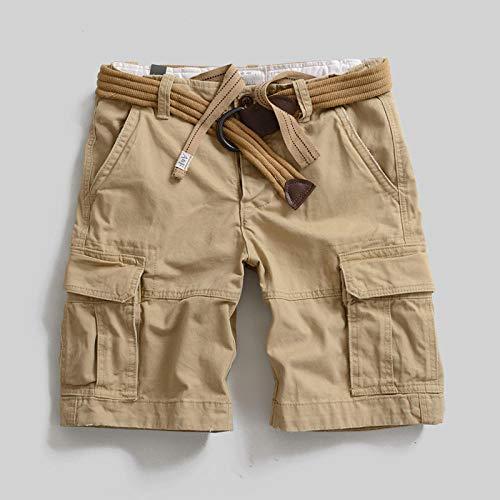 lxylllzs Outdoor Bermudas Casual Combat Pantalon,Salopette d'extérieur Oversize, Pantalon Multi-Poches en Short-Kaki 2_30,Shorts Cargo pour Multi-Poches,