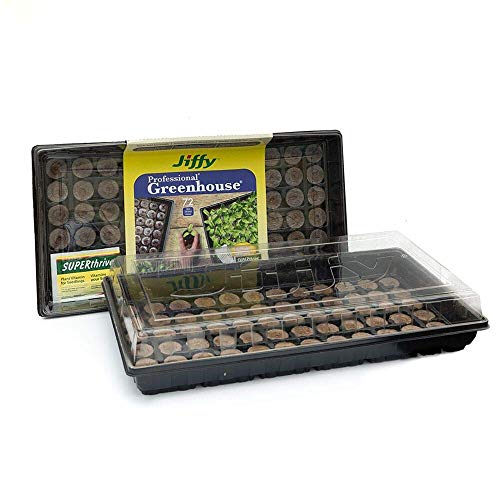 Jiffy Seed Starting Greenhouse with 72 36mm Peat Pellets and Bonus SUPERthrive Sample + Plant Markers (2 Pack)