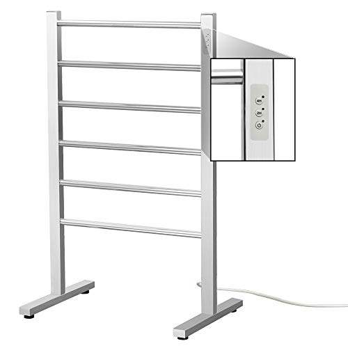 SHARNDY Electric Towel Warmer Rack Built-in Timer Freestanding Heated Towel Bar ETW78-1 (Brushed with Built-in Timer)