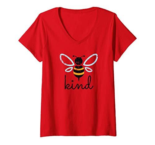 Womens Vintage Be Kind - Bumblebee Bee Kind Kindness Gift V-Neck T-Shirt
