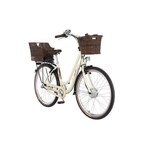 FISCHER E-Bike Retro ER 1804, Elektrofahrrad, Elfenbein glänzend, 28 Zoll, RH 48 cm, Frontmotor 25 Nm, 36 V Akku