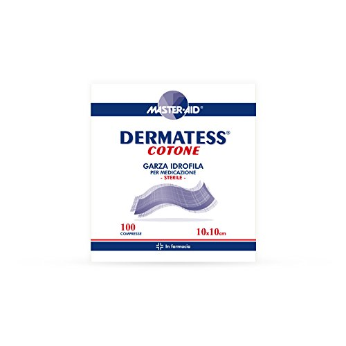 MASTER AID Dermatess Cotone, Bianco/Blu, 10 X 10 cm, 100 Unità