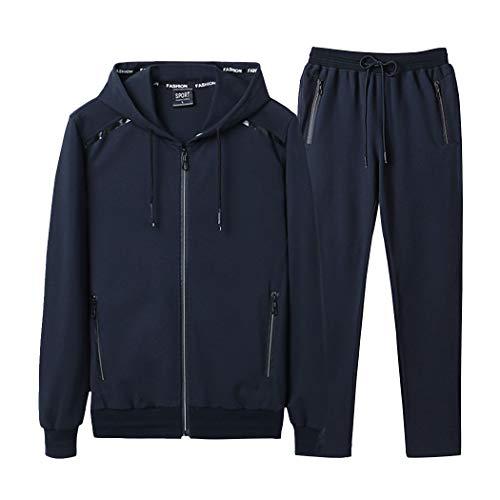 Modern Fantasy Men's Athletic Tracksuit Bomber/Hoodie Jackets & Pants Set Jogging Sweatsuit Big Darkblue 2XL