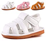Boys Girls Summer Squeaky Sandals Closed-Toe Anti-Slip Premium Rubber Sole Toddler First Walkers Shoes White 1302-WT16(Foot length 11cm/4.33in)