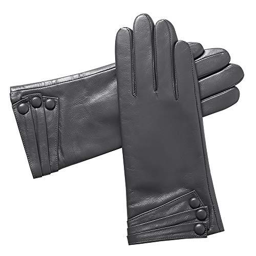 Acdyion Damen Winterhandschuhe Echtleder Lederhandschuhe Touchscreen echtes Leder Kaschmirfutter Autofahren Outdoor winddicht wasserdicht (Large, Grau)