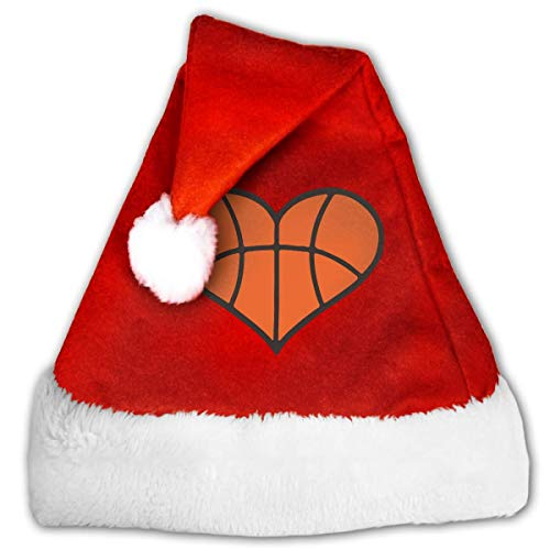 Basketball Heart Christmas Hat, Red&White Xmas Santa Claus' Cap for Holiday Party Hat,Size: Medium