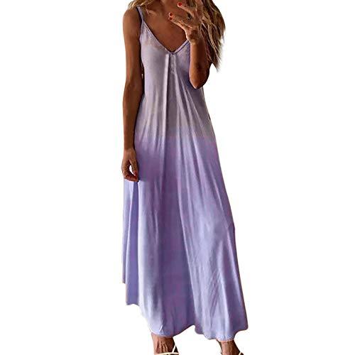 Yowablo Kleid Frauen Lässig Ärmelloses Leibchen V-Ausschnitt Maxi Tank Langes Kleid ( L,lila )