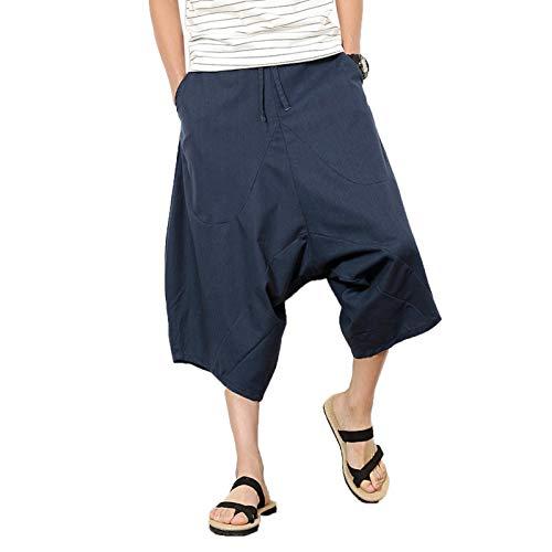ZumZup Herren Sommer Leinenshorts Capri Lässig Hose Low Crotch Strandshorts Freizeit Marine Blau Asie 4XL: Taille 94cm/37.0