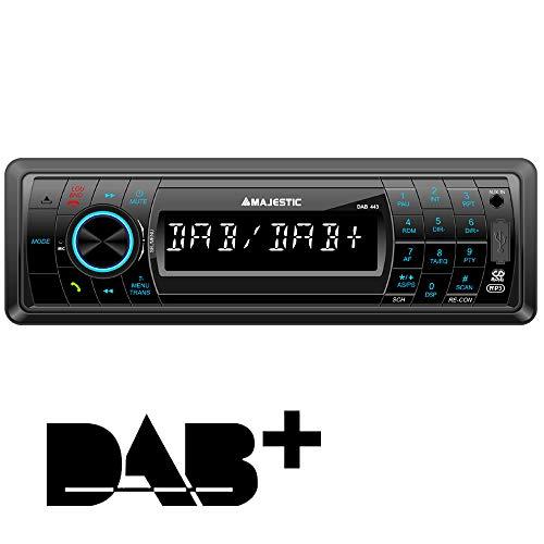 Majestic DAB-443 - Autoradio RDS FM/Dab+ PLL, Bluetooth, Lettore CD/MP3, Ingressi USB/SD/AUX-in, 180W (45W x 4ch), Frontalino Ribaltabile e Estraibile, Nero