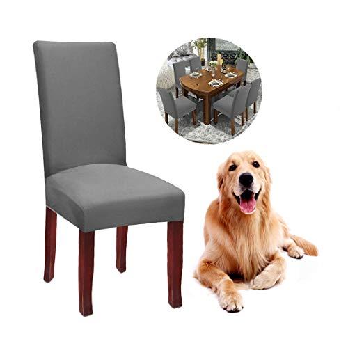 JunYito Stuhlhussen 4er 6er Set Elastische Stuhlhussen Universal Stretchhusse Stuhlbezug Stretch für Stuhl Esszimmer (F-grau, 6 Stücke)